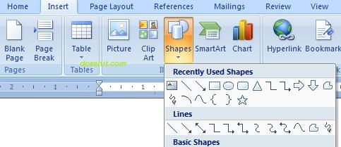 membuat garis di word dengan shape