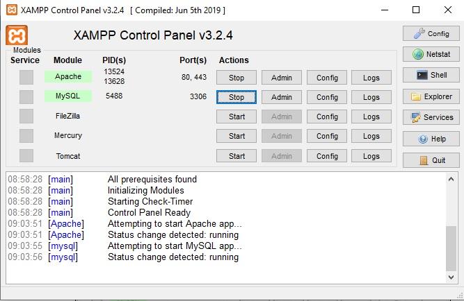 xampp-control-panel-running